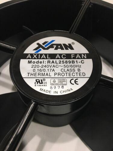 """XFAN AXIAL AC FAN MODEL RAL2589B1-C COOLING FAN 220V 0.16//0.17A 2pin 10/"""" X 3.5/"""""""