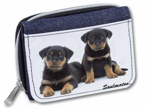 Rottweiler Puppy Dogs /'Soulmates/' Girls//Ladies Denim Purse Wallet Chr SOUL-47JW
