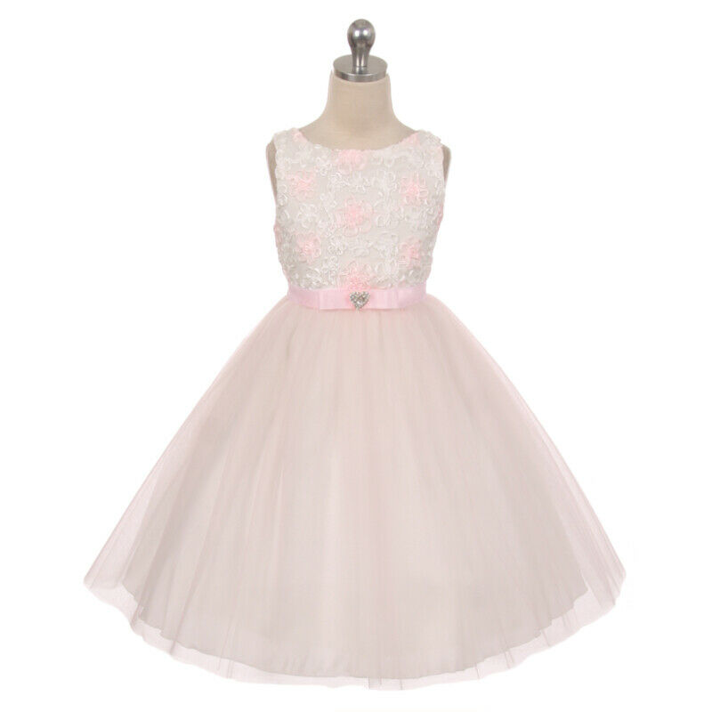 IVORY PINK Embroidered Tulle Girl Dress Birthday Wedding Bridesmaid Size 6