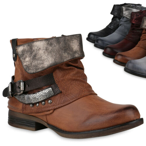 Damen Stiefeletten Biker Boots Schnallen Nieten Leicht Schuhe 818439 Trendy