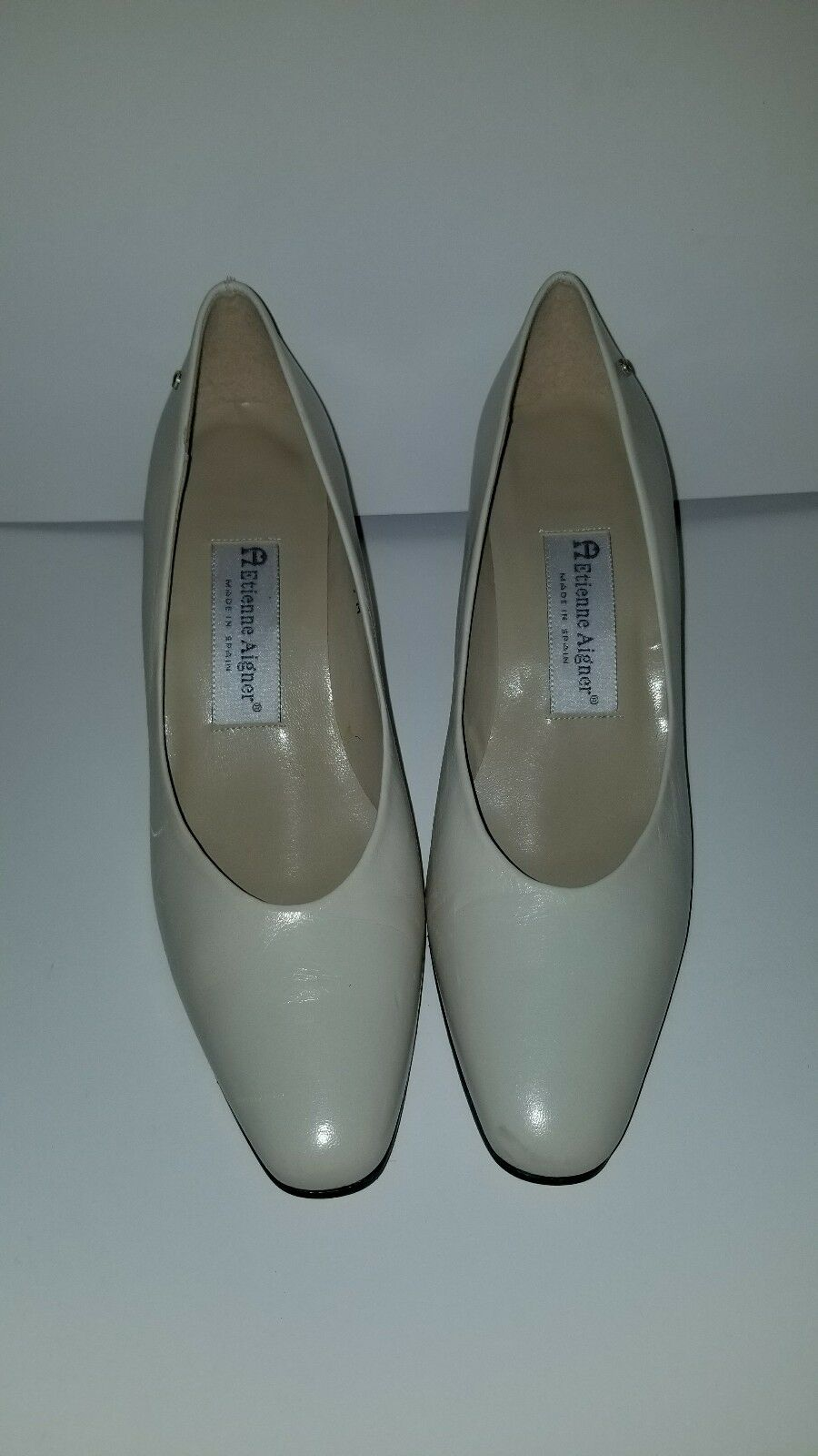 Etienne Aigner Creme Heels Heels Heels Taille 7 1 2 M all leather top VINTAGE 1d5a71