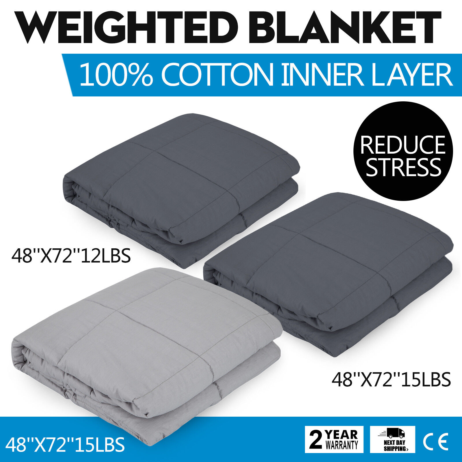 Weighted Gravity Blanket Adult Natural Deep Sleep Reduce Stress 48x72