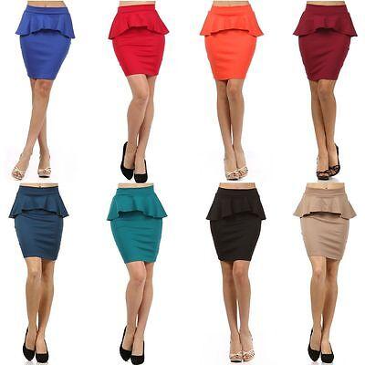 Sexy High Waist Banded Ponte Knit Bodycon Frill Peplum Skater Mini Skirt