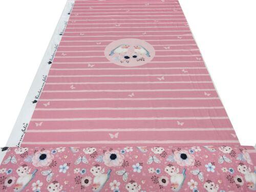 Tissu jersey coton oiseaux fleurs Panel stoffpanel 0,75 M x 1,40 m Rose Coloré