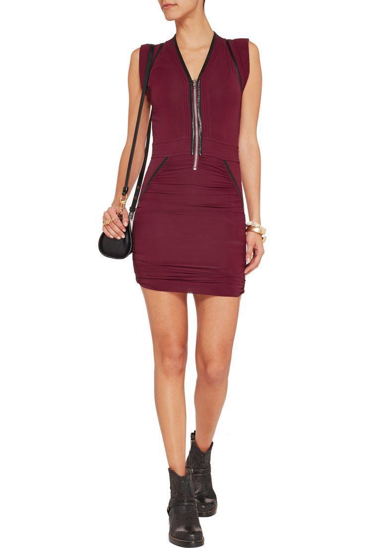 NWT IRO Jadela läder Trim Dress in Burgundy röd [SZ 38]35;A94