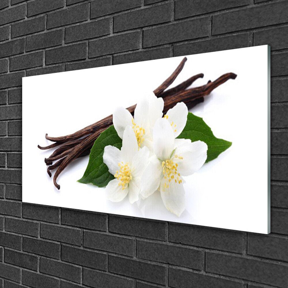 Image sur verre acrylique Tableau Impression 100x50 Floral Vanille