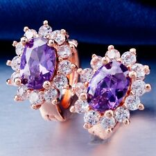ELEGANT WEDDING ROSE GOLD Plated PURPLE Cubic Zircon Classic Hoop Earrings H2005