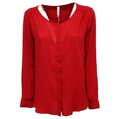 0919k Camicia Donna Sun 68 Red Round Neck Shirt Woman Beneficiale Per Lo Sperma