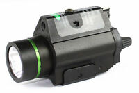 Tactical Flashlight Light Green Laser W/strobe Sight Combo