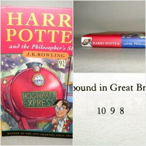 Harry-Potter-Philosophers-Stone-J-K-Rowling-1998-1st-8th-HB-DJ-Ted-Smart