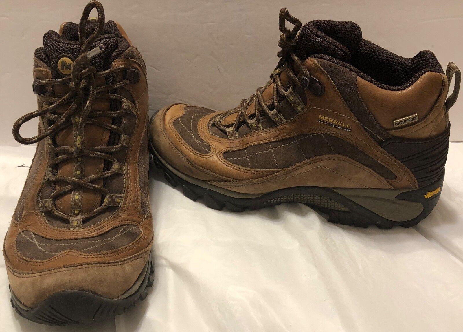 Merrell Siren Waterproof Mid Leather Marron Bottes Sz 8 Trail Hiking Vibram Soles