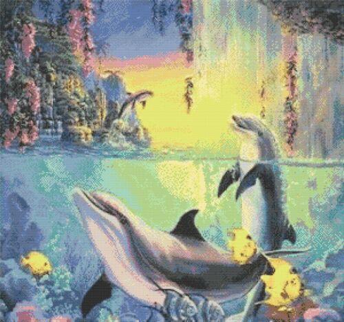 Delfín en la cascada-tabla De Punto De Cruz