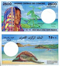COMOROS 2500 Francs Banknote World Money UNC Currency BILL p13 Africa Note 1997