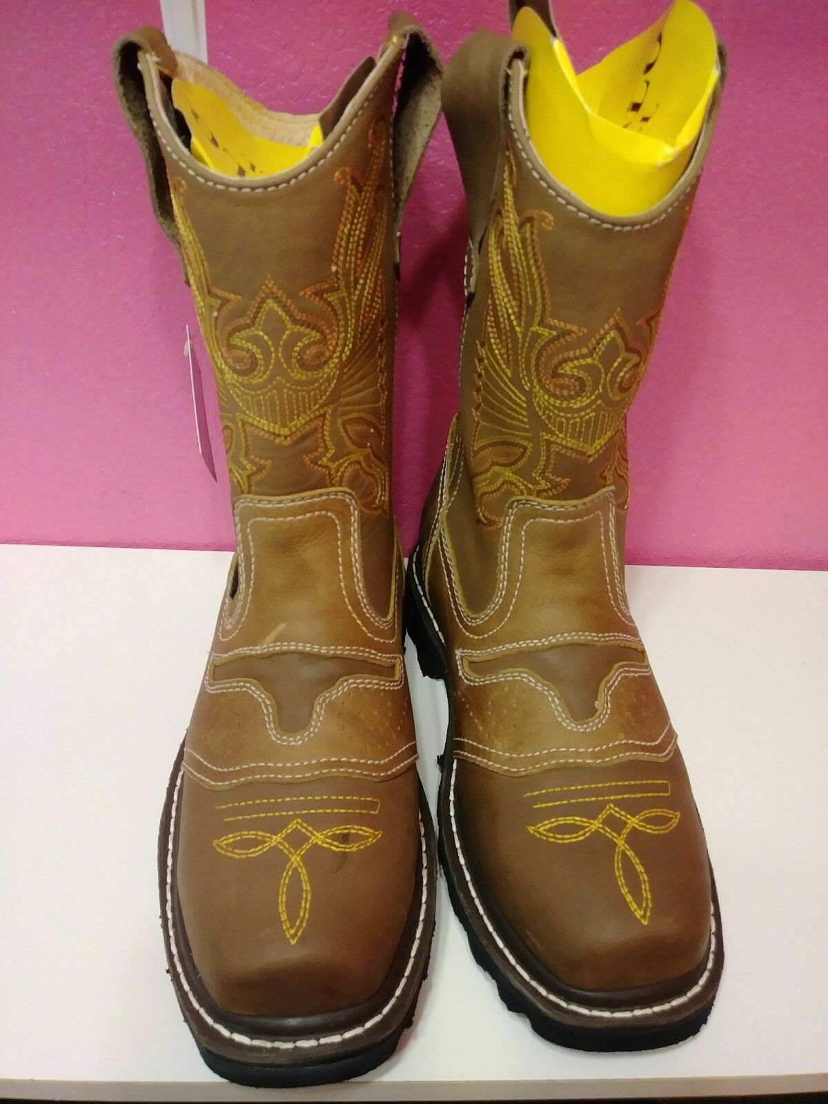 Cowboy work boots steel toe El General buffalo & bull size 6