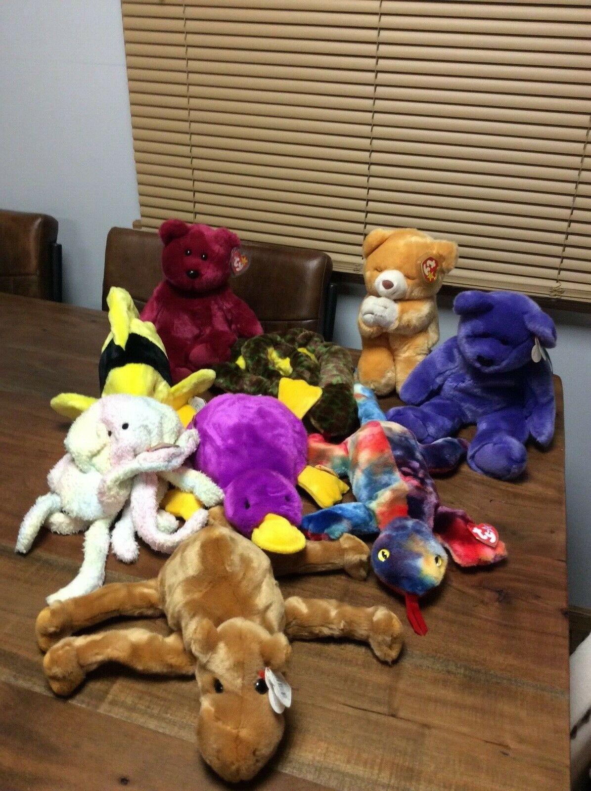 BEANIE BUDDIES LOT OF 9 INCLUDING EMPLOYEE BEAR, BUBBLES,HOPE,PATTI,TEDDY