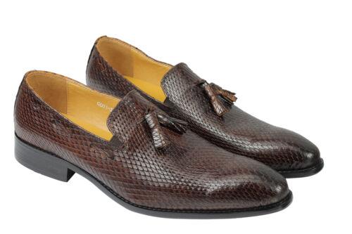 Loafer Print Mens Real Dress Leather Brown Snakeskin Wedding Retro Shoes Tassel ZwUIqYUrx