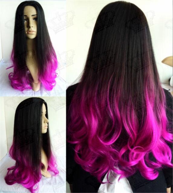 """24"""" Long Ladies 3/4 Wig Fall Half Wig Clip In Wavy Hair Piece Ombre BLK/Hot Pink"""