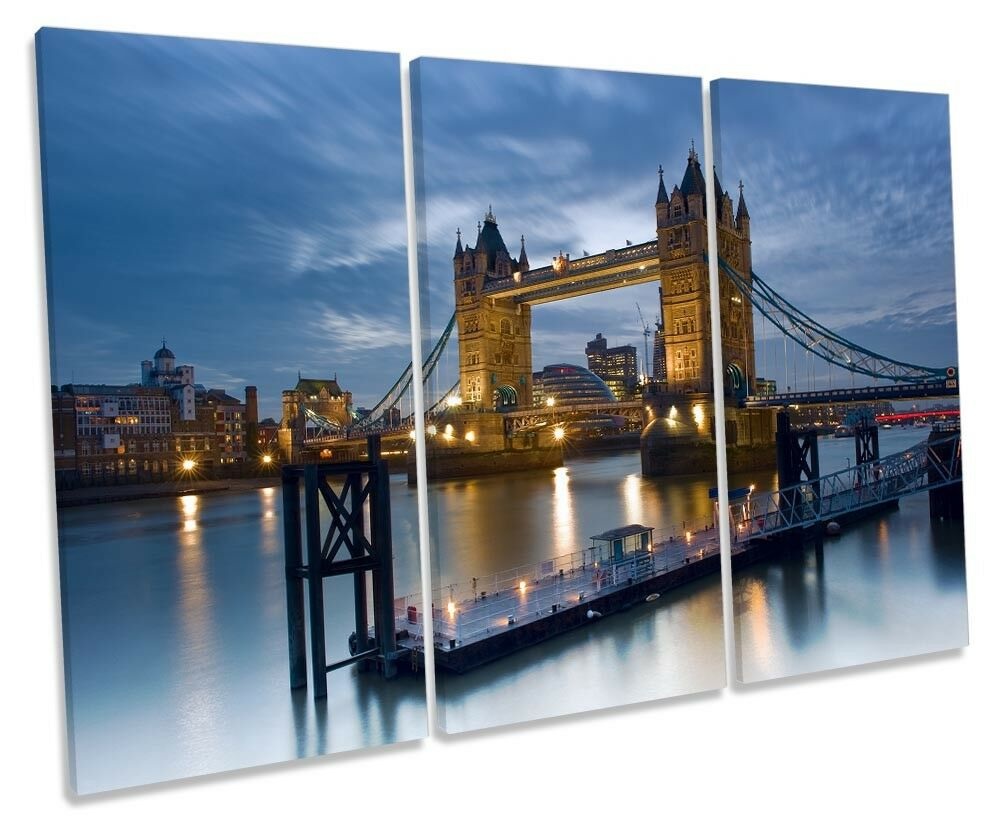 London Tower Bridge City Picture TREBLE TREBLE TREBLE CANVAS WALL ART Print cd4b6a