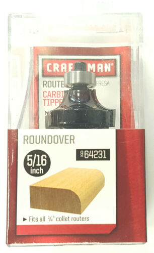 """CRAFTSMAN 5//16/"""" ROUNDOVER CARBIDE TIPPED ROUTER BIT 9-64231"""