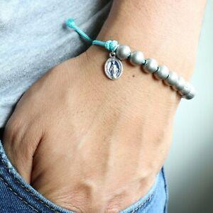 Rosary-Miraculous-Medal-Bracelet-Handmade-Aqua-Blue-Paracord-Beads-Catholic