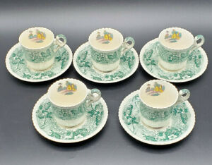 Vintage-Set-of-Five-England-Copeland-Spode-Byron-Demitasse-Tea-Cup-and-Saucer