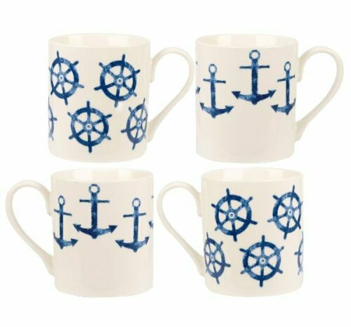 Queens SIENI ANCHORS /& SHIP WHEELS Larch MUG GIFT SET of 4