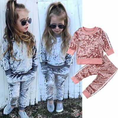 Toddler Kids Baby Girls Velvet Tracksuit T-shirt Tops+Pants Outfits Clothes Set