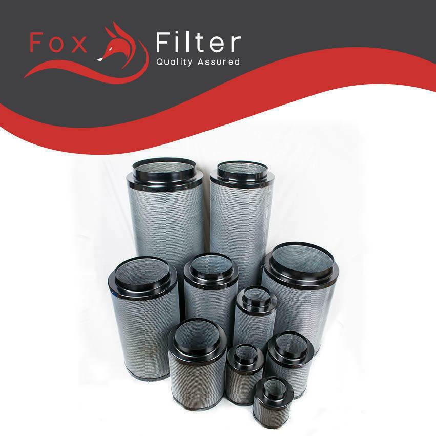 Filtro de Cochebono Fox 8  200 400mm Hidroponía extracción crecer Sala Ventilación