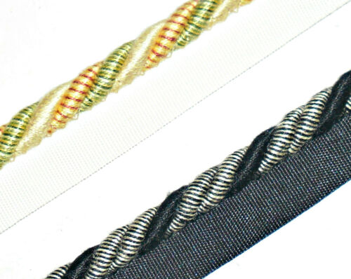 TOP QUALITY FLANGED BINDING//PIPING 8MM CORD ART 9606 ASSORTED COLOURS X2 MTRS