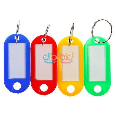 Anti-Lost Plastic Key Ring ID Tags Name Card Label Language Fob Split Keychain