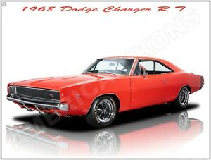 1970 Dodge Charger Hemi RT in Purple New Metal Sign Fully Restored