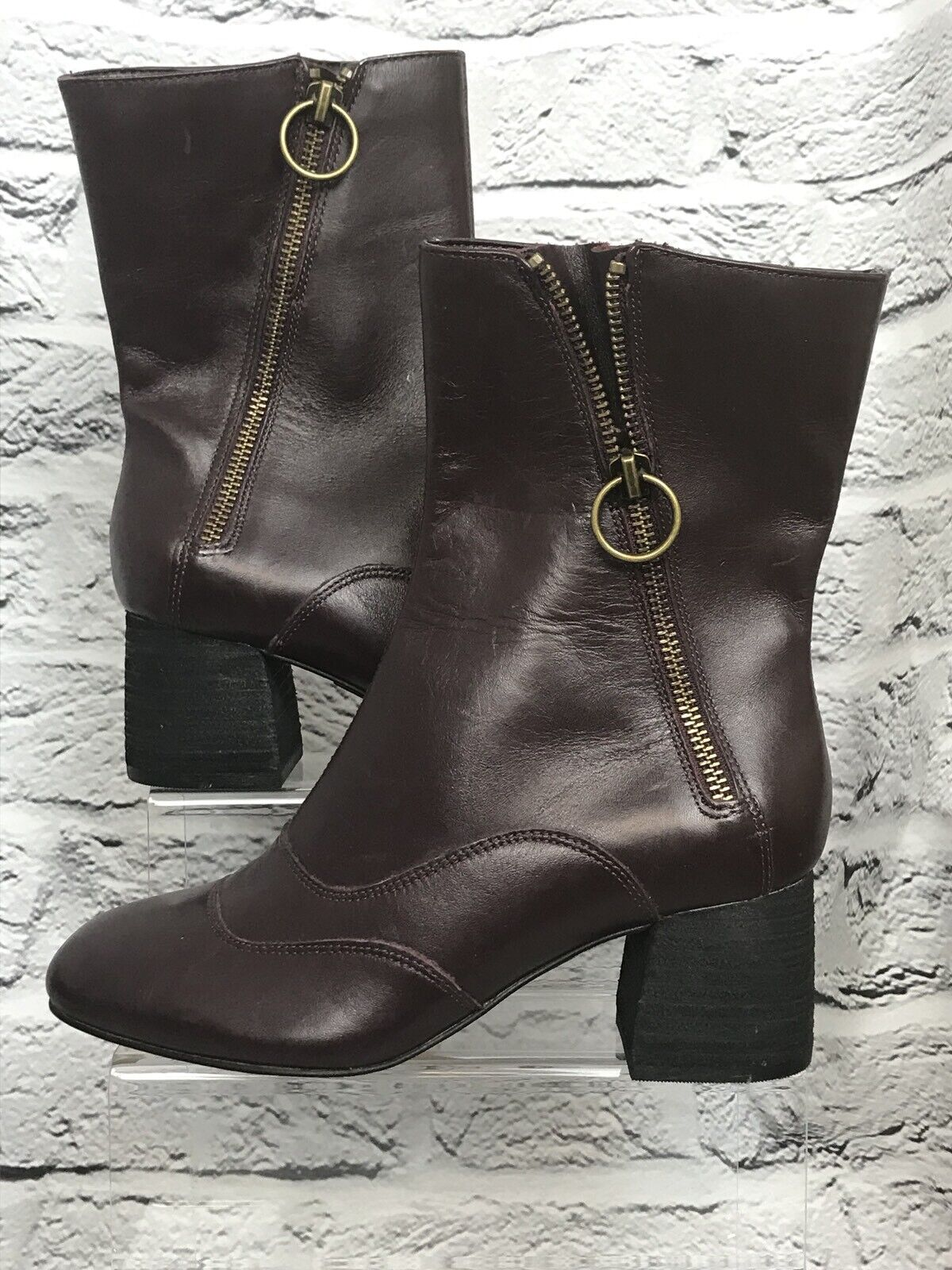 M&S Autograph Insolia Burgundy Boots New