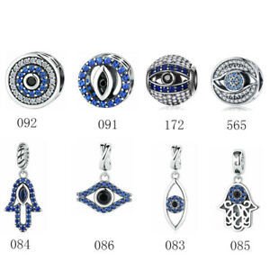 eb0a532efb091 Lucky Evil Eye Hamsa Hand Charm 925 Sterling Silver Beads fit ...