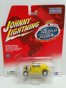 Rare-Johnny-Lightning-Retro-Rods-32-Ford-Roadster-White-Lightning-Chase-Yellow