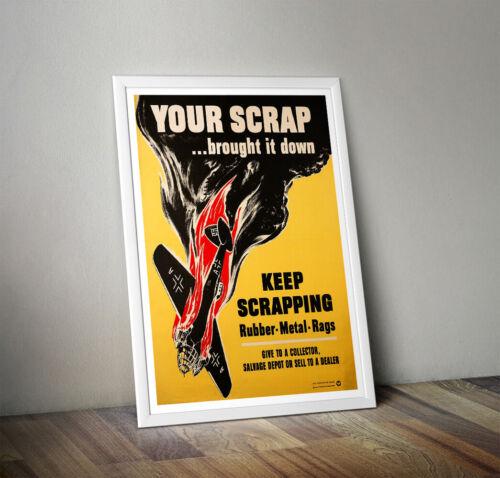 wwII Scrap poster propaganda art ww2 plane World war 2 print A3 A4 Collectable