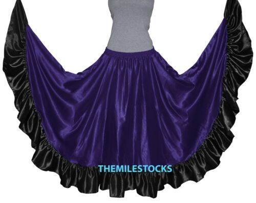 TMS Designer Satin Flamenco Skirt Belly Dance Tribal Gypsy Tiered Ruffle Jupe