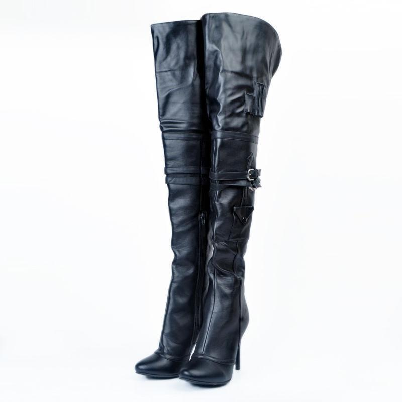 Womens Punk High Stiletto Heel New Pointed Toe Over Knee Knee Knee Thigh High Boots Buckle fff256
