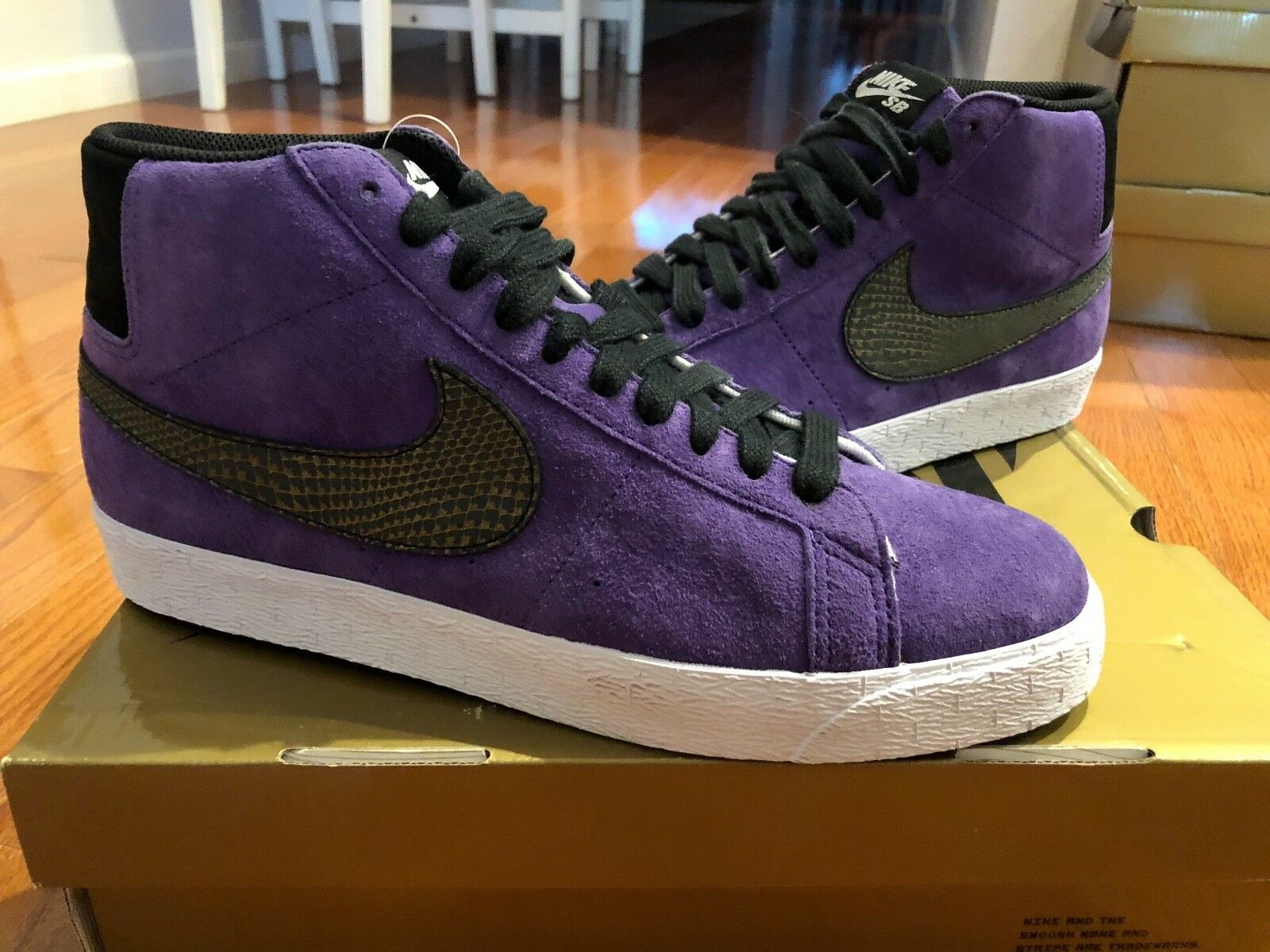 NIKE 2008 Purple Blazer Premium SB Varsity Purple 2008 SUPREME GOLD BOX RARE 314070 501 8b69e1