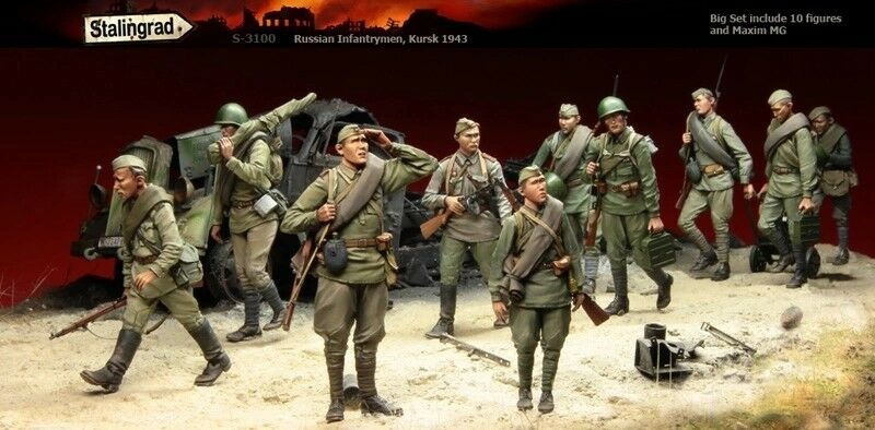 1 35 Resin Stalingrad S-3100 Russian Infantry Kursk 1943 (10 figures & Maxim MG