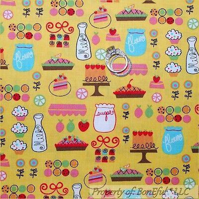 BonEful Fabric FQ Cotton Quilt Yellow Pink Red Pie Retro Kitchen Cupcake Cherry