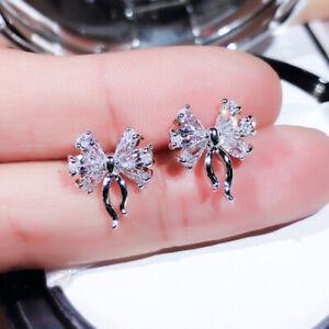 Cute Cubic Zirconia 925 Silver Stud Earrings Women Wedding Party Jewelry Gift