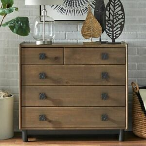 Rustic Farmhouse Style Solid Wood 5 Drawer Dresser