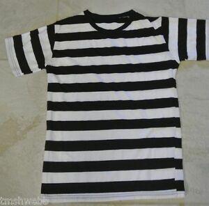 Black White Striped Shirt Halloween Mens Small Burglar Convict ...