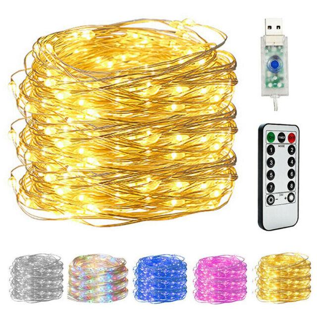 50-200 LED Kupferdraht Lichterkette Batterie USB Weihnachten Beleuchtung Timer