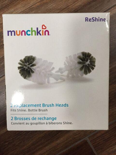 3 three Munchkin 2 Piece REShine Stainless Steel Bottle Brush Heads Refills