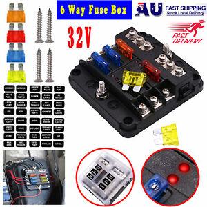 6 Way Circuit Blade Fuse Box Block Holder LED Indicator Car Marine 12V New