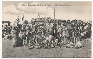 1907 Postcard of Blackfoot Indian Braves and Chief Running