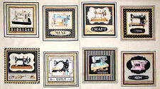 """Sewing Machine Sew Themed Cotton Fabric QT 24154 Thimble Peasures 24""""X44"""" PANEL"""