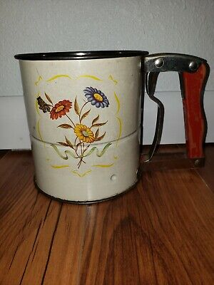 Vintage Androck Hand I Sift Flour Sifter Metal 3 Screen