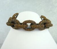 J. Crew Classic Pave Crystal Link Bracelet Plated Roasted Acorn 8l X 3/4w